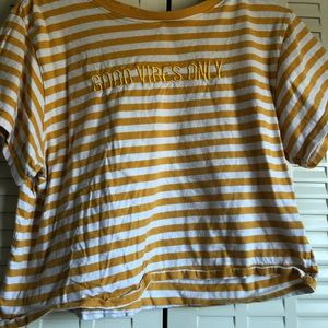 Yellow Striped and embroidered shirt